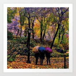 Umbrellas in Central Park! Art Print