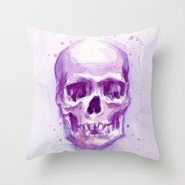 Skull Watercolor Purple Pink Skulls Throw Pillow