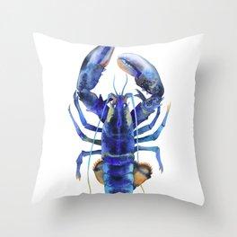 Blue Lobster №1 Throw Pillow