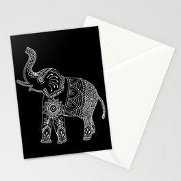 Boho Elephant Doodle in Black and White, Zentangle, Mehndi Style. Stationery Cards