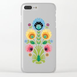 Polish Folk Flowers Pink and Yellow Clear iPhone Case