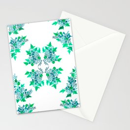 Blue Coralline Flowers Stationery Cards