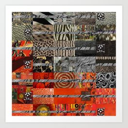 Black Red & Grey Abstract Art Collage Art Print