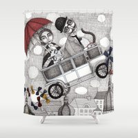 holiday Shower Curtains featuring Going on Holiday by Judith Clay