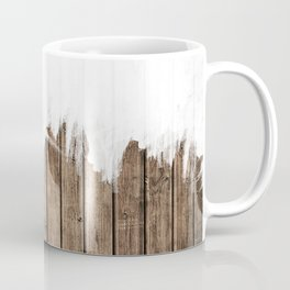 White Abstract Paint on Brown Rustic Striped Wood Coffee Mug