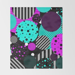 Circles, Bubbles And Stripes Throw Blanket