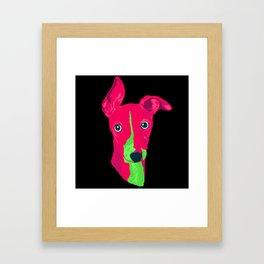 italian greyhound - blk Framed Art Print