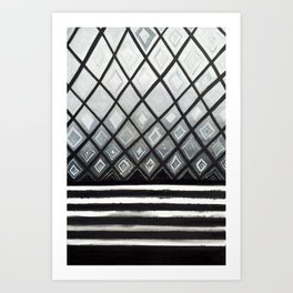 Woven Basked Diamond Ombre in Silver and Black Art Print