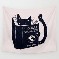 books Wall Tapestries featuring World Domination For Cats by Tobe Fonseca