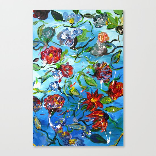 Blue Flower Swirl Canvas Print