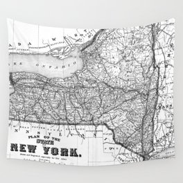 Vintage Map of New York (1873) BW Wall Tapestry