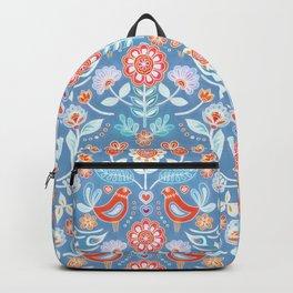 Happy Folk Summer Floral on Light Blue Backpack