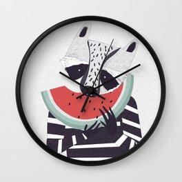 Raccoon eating watermelon Wall Clock