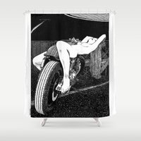 apollonia Shower Curtains featuring asc 585 - L'étalage (The display) by From Apollonia with Love