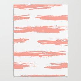 Pretty Pink Brush Stripes Horizontal Poster