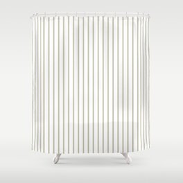 Silver Moss Pinstripe on White Shower Curtain