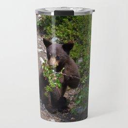 Black bear cub vs. berries Travel Mug