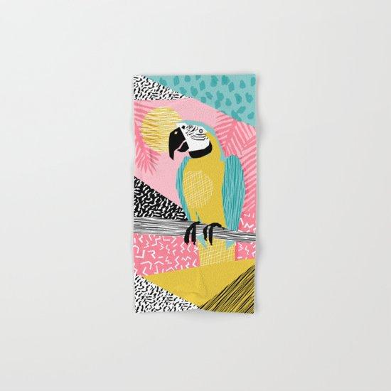 Holy Moly - memphis throwback retro neon bird macaw tropical island pop art bird watching 1980s Hand & Bath Towel