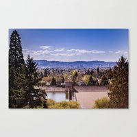portland Canvas Prints featuring PORTLAND by Pitter Patterns
