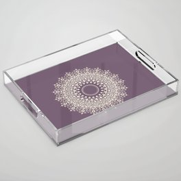 Mandala in Mulberry and White Acrylic Tray