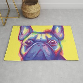 FRENCH BULLDOG COLORFUL WATERCOLOR ILLUSTRATION Rug