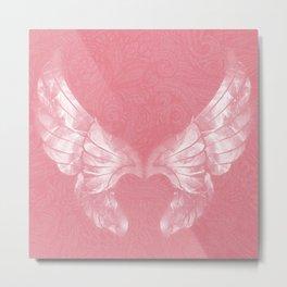 Pink/White Ethereal Angel Wing Digital Mural Art Metal Print