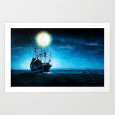 The Flying Dutchman Under The Moon - Painting Style Art Print