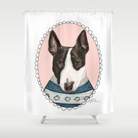 bull terrier Shower Curtains featuring Bull Terrier by Rhian Davie