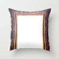 frame Throw Pillows featuring Frame by GetNaked