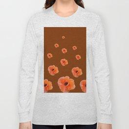 ORANGE POPPY FLOWERS ON COFFEE BROWN Long Sleeve T-shirt
