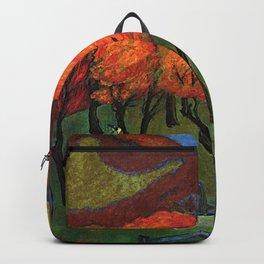 Autumn Fruit Harvest in a Mountain Garden landscape painting by Marianne von Werefkin Backpack