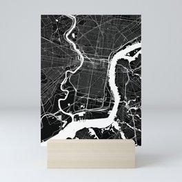 Philadelphia, PA, City Map - Black Mini Art Print