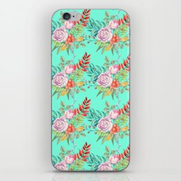 Country chic pink red aqua watercolor floral iPhone Skin