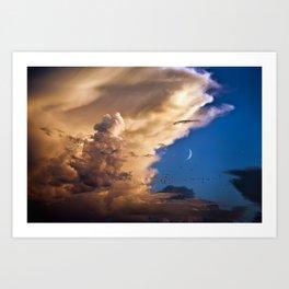 Clouds, Birds, Moon, Venus Art Print