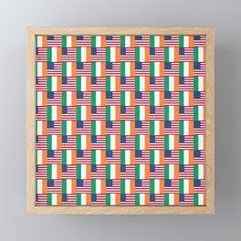 Mix of flag: usa and ireland Framed Mini Art Print