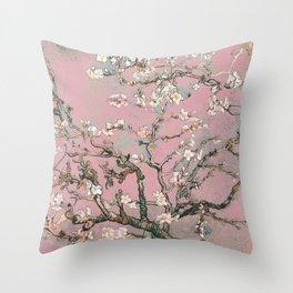 Almond Blossom - Vincent Van Gogh (pink pastel) Throw Pillow