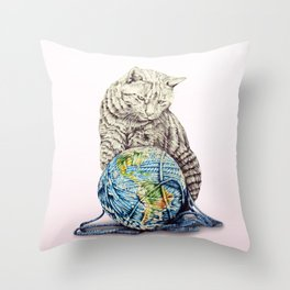 In which our feline deity shows restraint  Throw Pillow