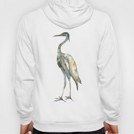 Crane #2 - Bird Ink Painting in subdued blue Hoody