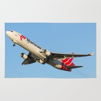 airplanes Area & Throw Rugs featuring Martinair Cargo McDonnell Douglas MD-11CF Miami take-off Airplanes by Yan David