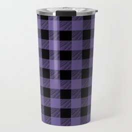 Ultra Violet Buffalo Plaid Travel Mug