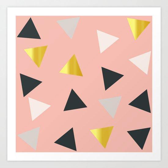 Gold triangles multi Art Print