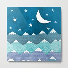 Mountains with Moon Metal Print