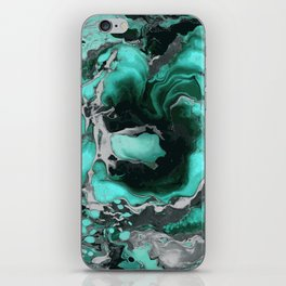 Teal and black Marble texture acrylic Liquid paint art iPhone Skin
