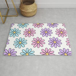 Pink, Blue and Purple Daisies Rug