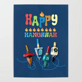Happy Hanukkah Dreidels Poster