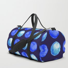 Winter Blue Watercolor Large Dots Pattern Duffle Bag