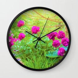Impressionistic Purple Peonies with Green Hostas Wall Clock