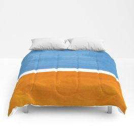 Rothko Minimalist Abstract Mid Century Color Black Square Periwinkle Yellow Ochre Comforters