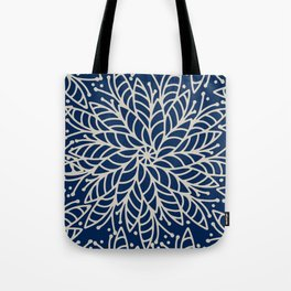 Modern navy blue ivory hand painted floral mandala Tote Bag