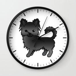 Black Long Coat Chihuahua Dog Cute Cartoon Illustration Wall Clock